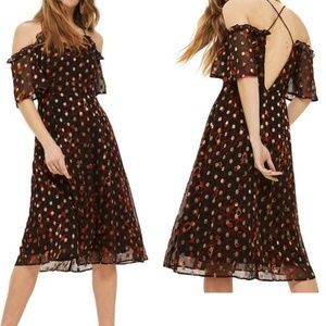 Topshop leopard polka dot cold shoulder midi dress